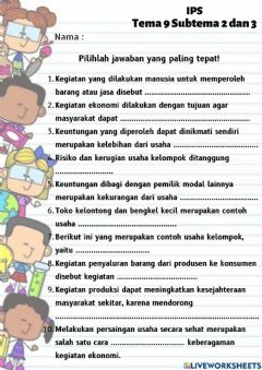 Interactive worksheet IPS Tema 9 Subtema 2 dan 3