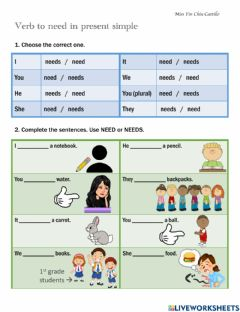 Interactive worksheet To need, to like and to want