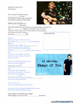 Interactive worksheet Shape of you
