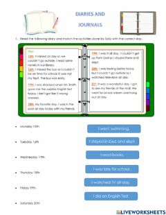 Interactive worksheet Diary, Formal and Informal Letters