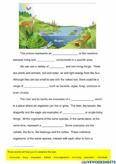 Interactive worksheet Components of an Ecosystem