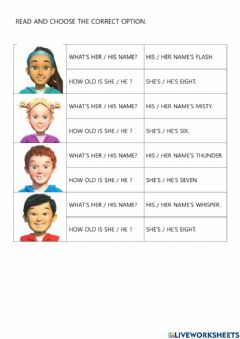 Interactive worksheet HE - SHE, HIS - HER