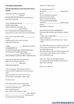 Interactive worksheet Song: 7 Years Old