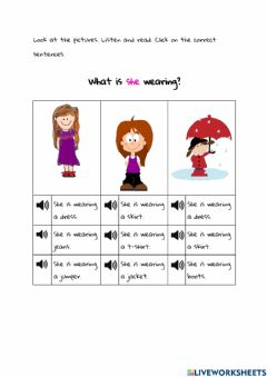 Interactive worksheet He - She is wearing...