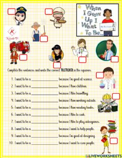 Interactive worksheet I want to be a...