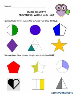 Interactive worksheet Fractions: Whole and Half