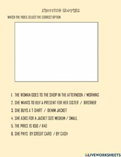 Interactive worksheet Shopping - buying clothes