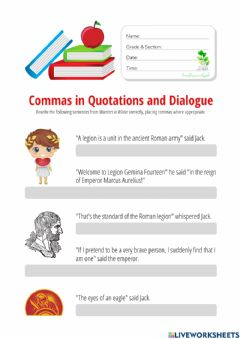 Interactive worksheet Commas in Quotations and Dialogue