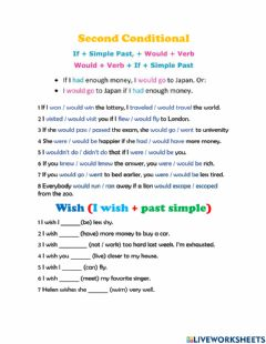 Interactive worksheet Second Conditional and Wish Quiz
