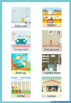 Interactive worksheet 3. Parts of the house and furniture