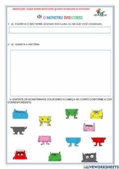 Interactive worksheet O monstro das cores