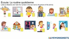 Interactive worksheet La routine quotidienne