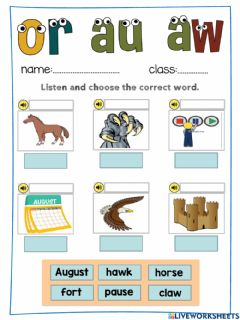 Interactive worksheet Jolly Phonics or au aw