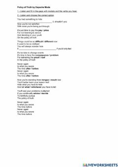 Interactive worksheet Song: Policy of Truth