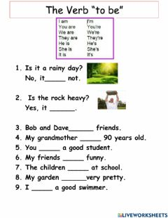 Interactive worksheet The Verb -to be-