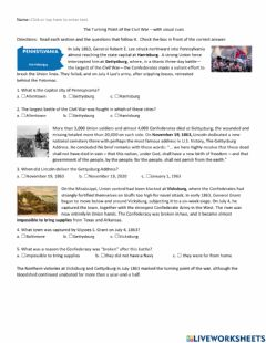 Interactive worksheet The Turning Point of the Civil War with visual cues
