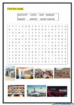 Interactive worksheet Places Wordsearch 3