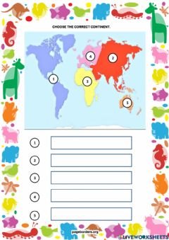 Interactive worksheet The correct continent