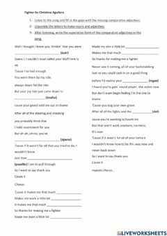 Interactive worksheet Song: Fighter