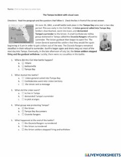 Interactive worksheet The Tampa Incident with visual cues