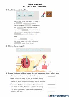 Interactive worksheet Simple Machines. Inclined Plane and Pulley