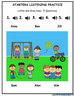 Interactive worksheet Starters Listening 2 At the Park