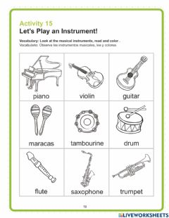 Interactive worksheet Let's Play an Instrument!