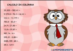 Interactive worksheet Calcolo in colonna 2