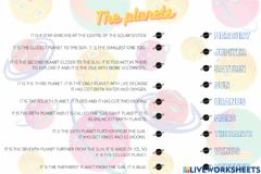 Interactive worksheet The planets