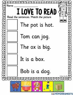 Interactive worksheet I love to read