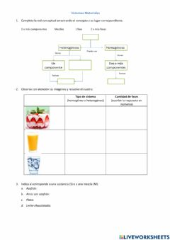 Interactive worksheet Sistemas materiales