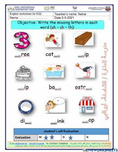 Interactive worksheet Revision (sh,ch,th)
