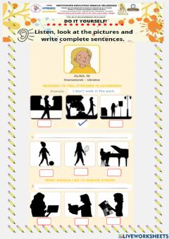 Interactive worksheet Let's Reduce Stress