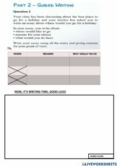 Interactive worksheet Holiday (spm 2021 guided writing)