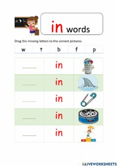Ficha interactiva In and it words