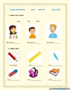 Interactive worksheet Family and friends 1 unit 1 to 3