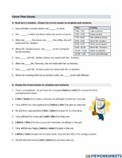 Interactive worksheet Future Time Clauses