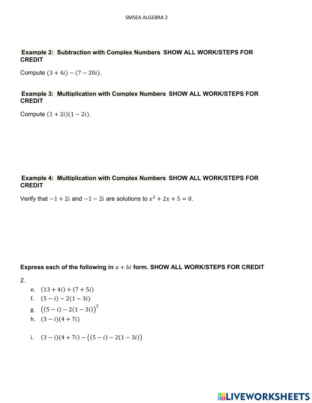Operations with Complex Numbers interactive worksheet Within Multiplying Complex Numbers Worksheet