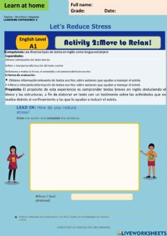 Interactive worksheet Let-s Reduce Stress - Move to Relax! A1 week 11