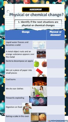 Ficha interactiva Physical and Chemical changes