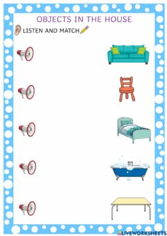 Interactive worksheet Objects in the House