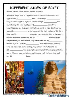 Interactive worksheet Different Sides of Egypt PET Reading