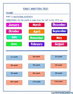 Interactive worksheet The Months