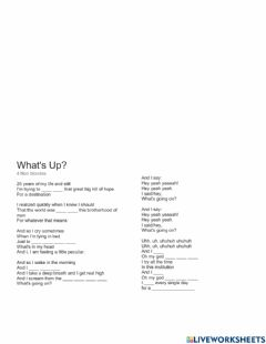 Interactive worksheet What's up - 4 non blondes