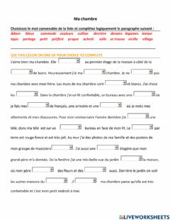 Interactive worksheet Ma propre chambre