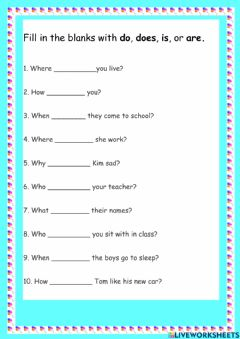 Interactive worksheet Wh-Q to be and Present Simple