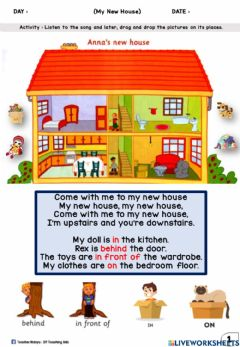 Interactive worksheet Get Smart Plus 3 (Module 5) : My New House (Drag and Drop)