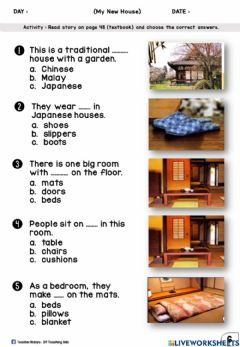 Interactive worksheet Get Smart Plus 3 (Module 5) : My New House (Multiple Choices)