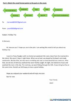 Interactive worksheet Email (Form 2 Unit 8 - English Pulse 2)