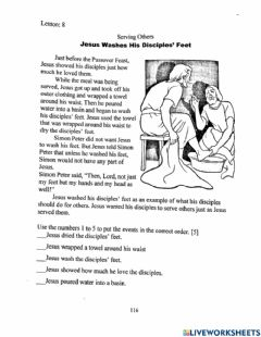 Interactive worksheet Jesus Washes His Disciples' Feet